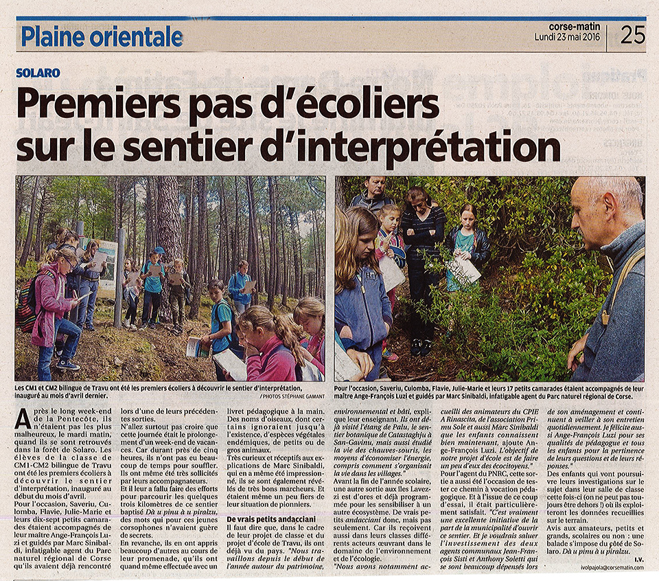 le sentier d'interprétation de Solaro